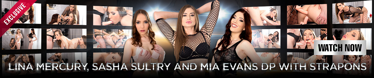 Lina Mercury, Sasha Sultry and Mia Evans DP with strapons